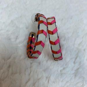 Stella & Dot Faux Leather Corset Hoop Earring
